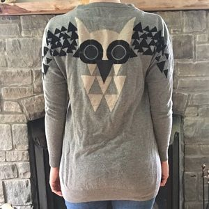 Owl Grey Long Sleeve Cardigan